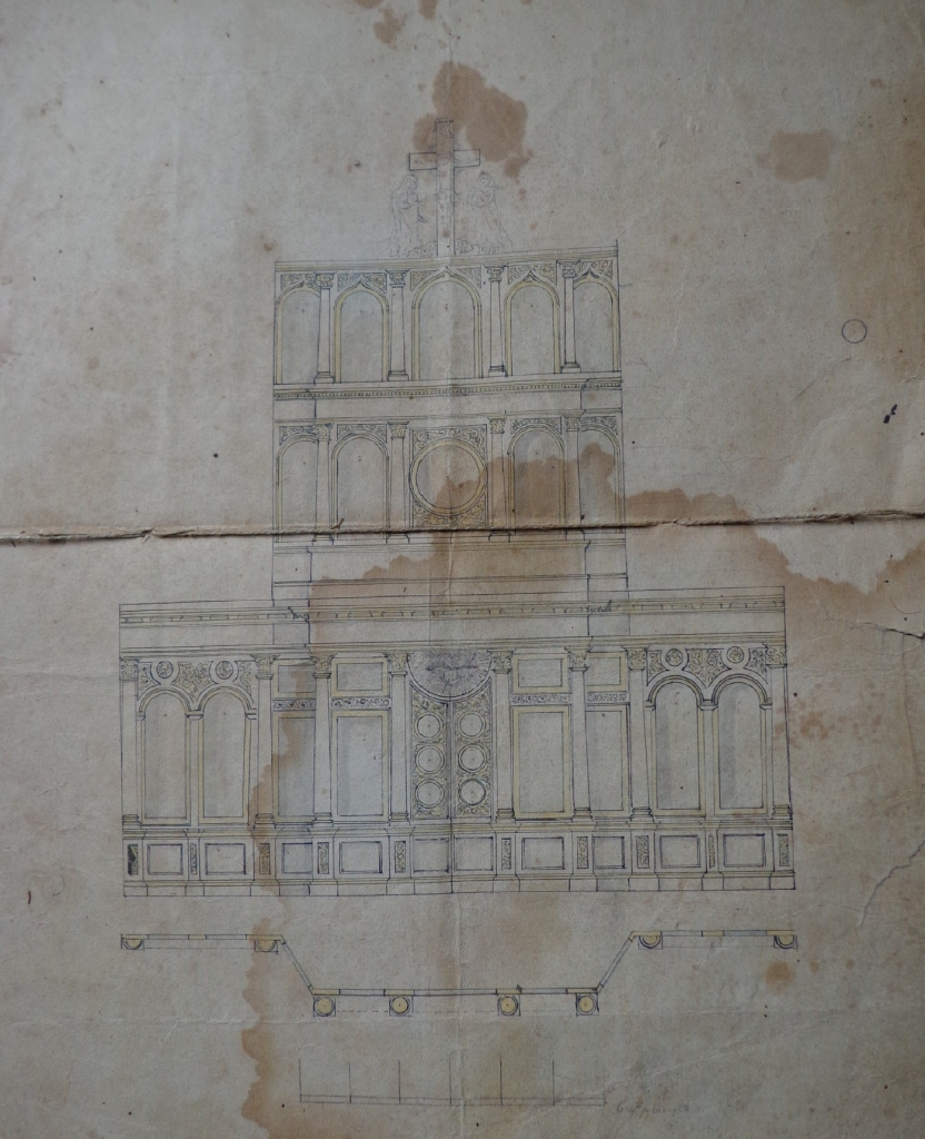 Чертеж иконостаса для Северского храма. 1869 г. ГАКК. Ф. 352. Оп. 1. д. 506. Л. 173.