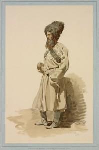 Пластун периода Кавказской войны. Рисунок Горшельта.