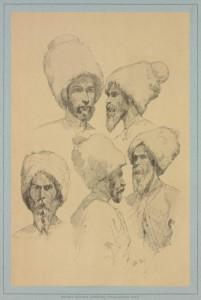 Графические типажи пластунов времен Кавказской войны. Рисунок Горшельта.